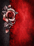 Dark Valentine background with a rose. Dark Valentine background with a red rose and ribbons Stock Photos