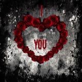 Dark Valentine, purple roses in form of heart Stock Photo
