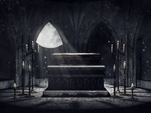 Vampire crypt with candles Royalty Free Stock Photo