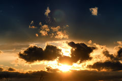 Dark van de zonsondergangwolk Stock Foto