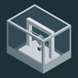Dark Vector isometric 3D printer Stock Image