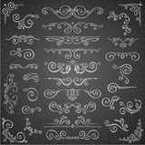 Dark Vector set of Swirl Elements for Frame Design. Calligraphic page decoration, Labels, banners, antique and baroque. Dark Vector set of Swirl Elements for Stock Images
