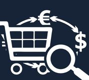 Dark vector simple flat template on trade, currency exchange, search opportunities. Contour white drawings of a basket for a store, dollar and euro signs Royalty Free Stock Photos