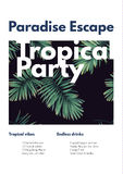 Dark vector tropical summer party flyer design with green jungle palm leaves. Royalty Free Stock Image