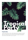 Dark vector tropical summer party flyer design with green jungle palm leaves. Stock Photos