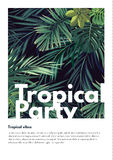 Dark vector tropical summer party flyer design with green jungle palm leaves. Royalty Free Stock Photos