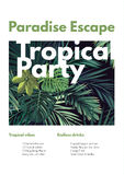 Dark vector tropical summer party flyer design with green jungle palm leaves. Royalty Free Stock Photo