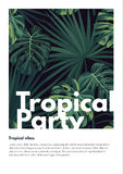 Dark vector tropical summer party flyer design with green jungle palm leaves. Royalty Free Stock Photography
