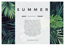 Dark vector tropical typography design with green jungle palm leaves. Space for text. Royalty Free Stock Images