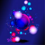 Dark vibrant banner with bubbles and flowers Stock Photos