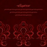 Dark victorian greeting card. Red color. Stock Images