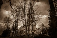 Dark view of Church of Holy Family in the center of Zakopane, Poland royalty free stock photo