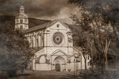Dark view of Fossanova abbey with fog Stock Photography