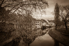 Dark view of Strasbourg stock image