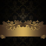 Dark vintage background with decorative border. stock photo