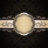 Dark vintage background with old-fashioned frame. Old-fashioned background with vintage floral ornaments and decorative frame Royalty Free Stock Photo