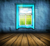 Dark vintage blue room with wooden floor Stock Image