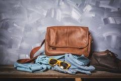 Dark vintage men leather fashion traveler style Stock Photo
