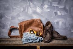 Dark vintage men leather fashion traveler style Royalty Free Stock Images