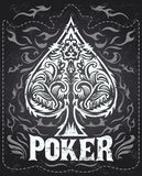 Dark Vintage Poker badge - western style. Vector poster - Grunge effects can be easily removed Stock Photography