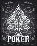 Dark Vintage Poker badge - western style Stock Photography
