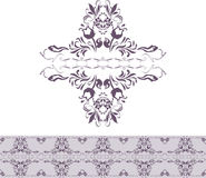 Dark violet ornamental element and border for decor Royalty Free Stock Photo