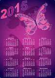 Dark violet pocket calendars for 2015. With vintage butterflies (vector eps 10 stock illustration