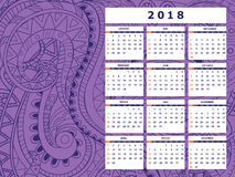 Dark violet tangle zen pattern calendar year 2018. Business english calendar for wall on year 2018 on the gradient background with hand drawn tangle zen pattern vector illustration