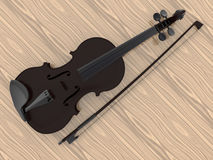 Dark violin and bow. 3D render illustration of a dark violin and bow. The object is isolated on a wooden background Royalty Free Stock Photo