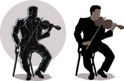Dark violinist Stock Images