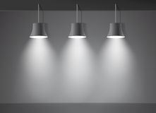 Dark wall bright stage with three spot lights vector Royalty Free Stock Images