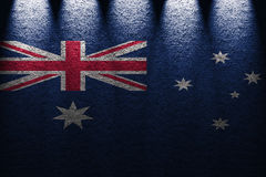 Dark wall five lights background with blending  Australia flag Royalty Free Stock Images