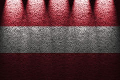 Dark wall five lights background with blending  Austria flag Royalty Free Stock Photos