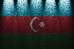 Dark wall five lights background with blending  Azerbaijan flag Stock Image