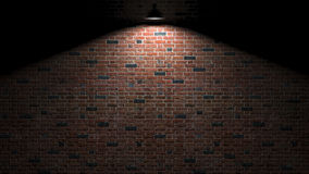Dark wall with lamp above 3d rendering Royalty Free Stock Image