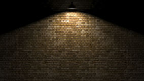 Dark wall with lamp above 3d rendering Royalty Free Stock Images