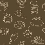 Dark wallpaper with hand drawn sweets Royalty Free Stock Photos