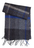 Dark warm woolen winter man`s scarf with a fringe of threads. Royalty Free Stock Photo