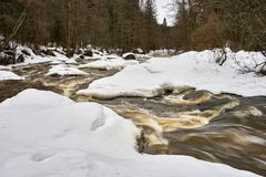 Dark water flowing fast in spring time in river stock photography