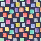 Dark watercolor pattern with colorful squares stock image