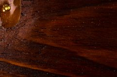 Dark weathered teak wood with copper. Texture dark weathered teak wood with copper details, close up Stock Photography