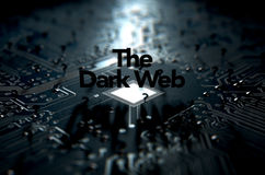 The Dark Web Concept. A 3D render of a macro view concept of a dimly lit circuit board with the word dark web and scattered black question marks on a dark Stock Photo