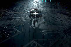 The Dark Web Concept. A 3D render of a macro view concept of a dimly lit circuit board with the word dark web and scattered black question marks on a dark Royalty Free Stock Images