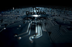 The Dark Web Concept. A 3D render of a macro view concept of a dimly lit circuit board with the word dark web and scattered black question marks on a dark Stock Photography
