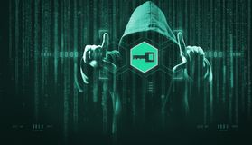 The dark web hooded hacker. Security hack concept with a hooded hacker and binary code stock image