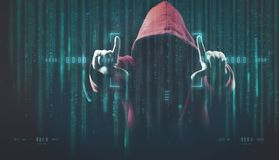 The dark web hooded hacker. Security hack concept with a hooded hacker and binary code royalty free stock photos