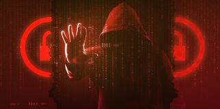 The dark web hooded hacker. Security hack concept with a hooded hacker and binary code stock photos