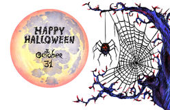 Dark web with spider  and full moon 'Happy Halloween'. Hand painted Isolated Watercolor Illustration:  Dark web with spider and full moon 'Happy Halloween Royalty Free Stock Image