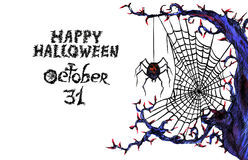 Dark web with  spider 'Happy Halloween'. Hand painted Isolated Watercolor Illustration: dark web with  spider 'Happy Halloween Royalty Free Stock Image