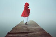 Dark weinig rode berijdende kap in de mist Royalty-vrije Stock Afbeeldingen
